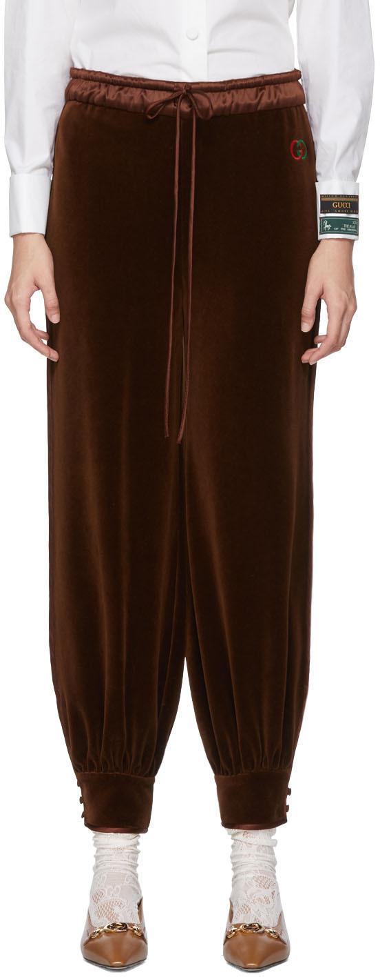 Gucci Pants Brown Chenille Jogging Lounge Pants