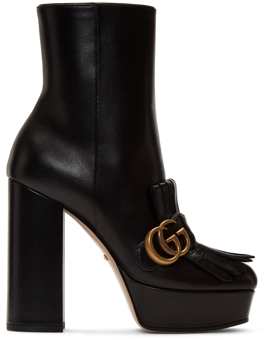 Gucci Boots Black Leather Fringe GG Platform Boots
