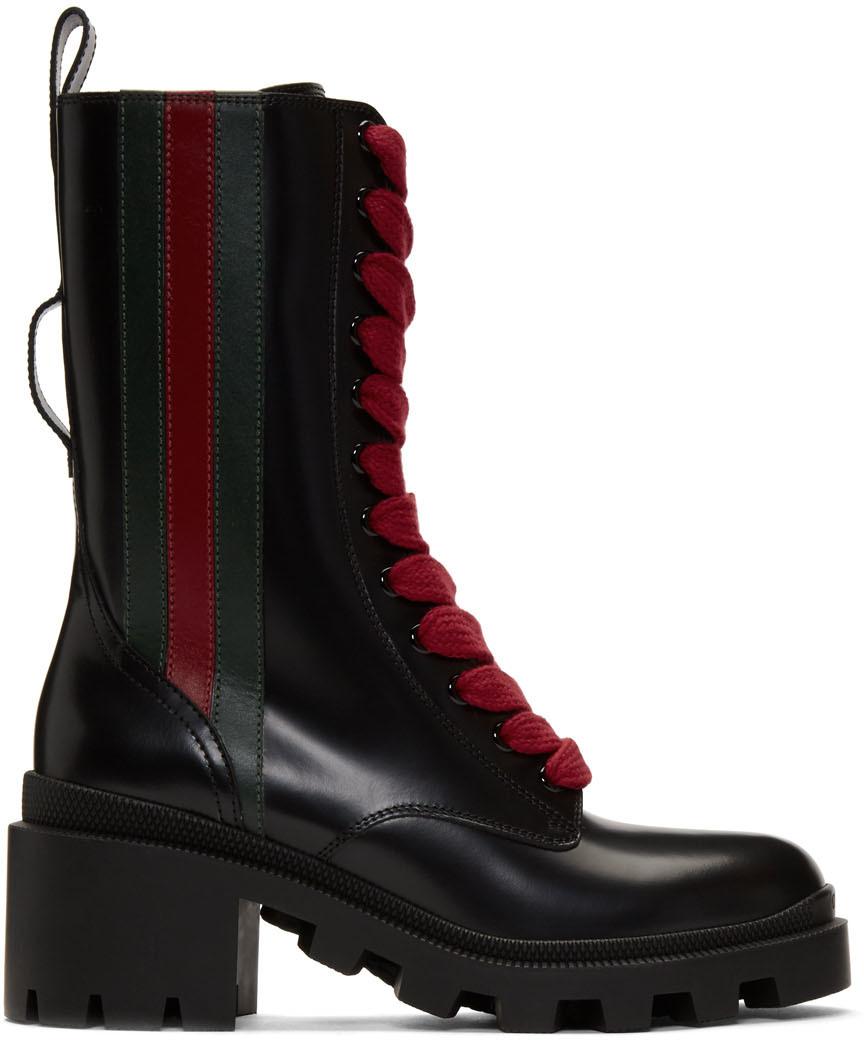 Gucci Boots Black Web Boots