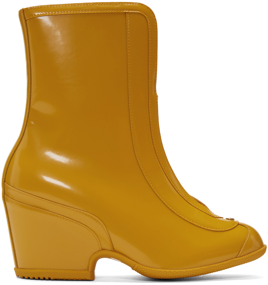 Gucci Boots Yellow Rubber Kitt Ankle Boots