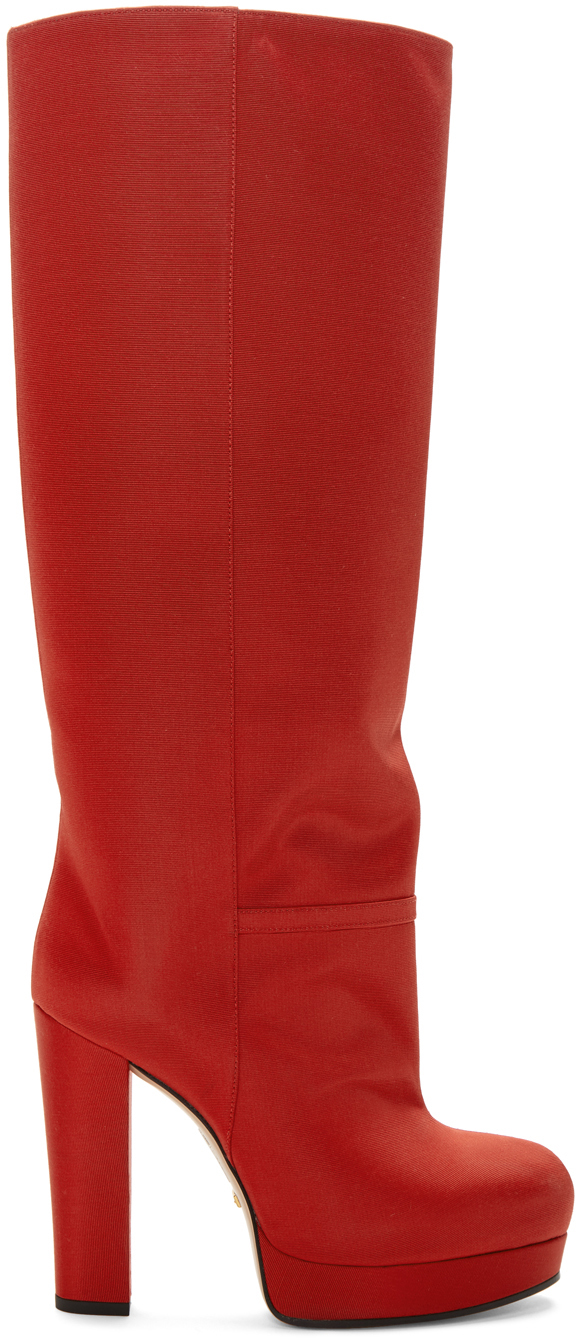 Gucci Boots Red Britney Platform Boots