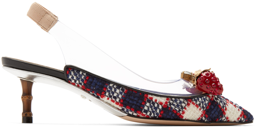 Gucci Shoes Multicolor Tweed & Plexi Eleanor Strawberry Heels