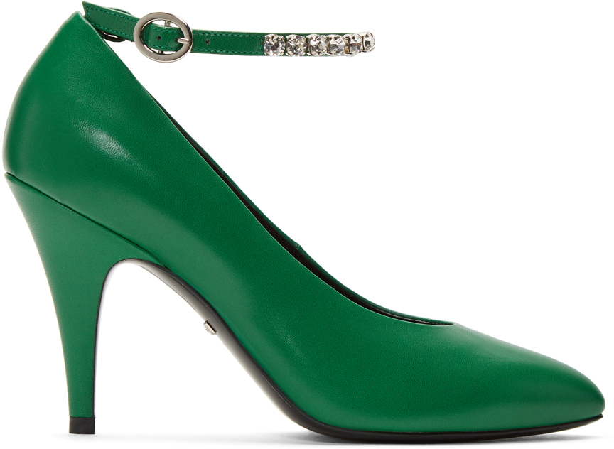 Gucci Shoes Green Crystal Ankle Strap Heels