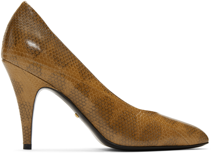 Gucci Shoes Tan Python Heels