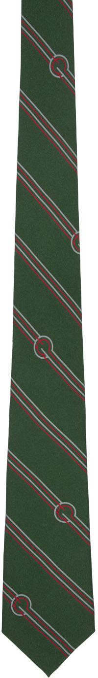 Gucci Ties Green Silk Diagonal Stripes & G Tie