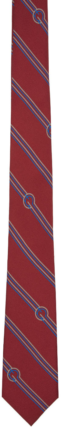 Gucci Ties Red Silk Diagonal Stripes & G Tie