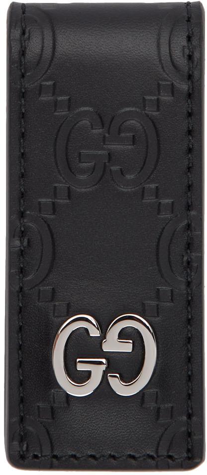 Gucci Accessories Black Leather 'Gucci Signature' Money Clip
