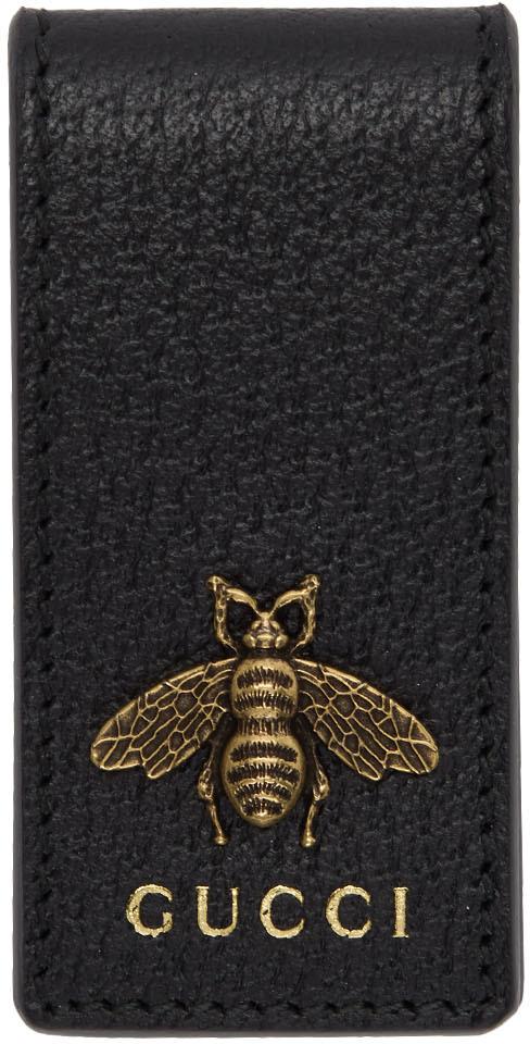 Gucci Accessories Black Leather Animalier Money Clip