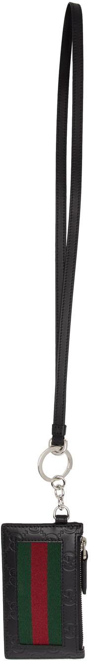 Gucci Accessories Black 'Gucci Signature' Zip Card Holder