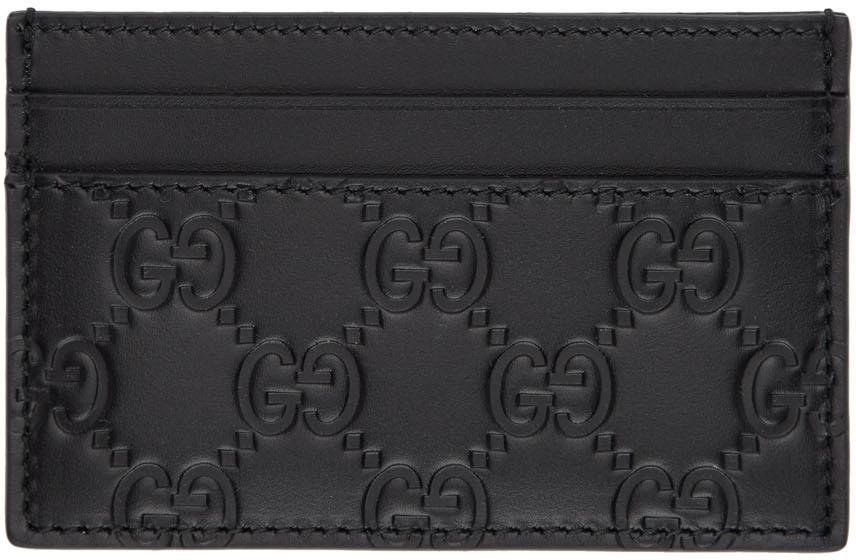 Gucci Accessories Black 'Gucci Signature' Card Holder