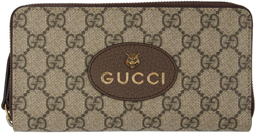 Gucci Wallets Beige GG Supreme Tiger Zip-Around Wallet