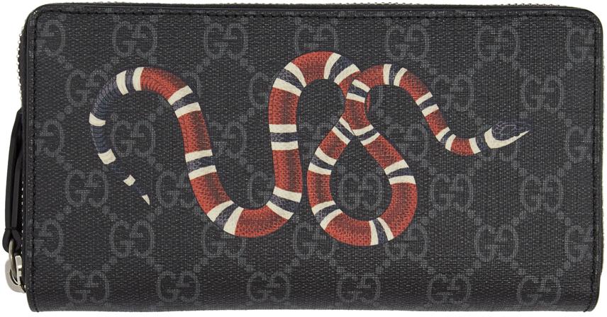 Gucci Wallets Black GG Supreme Kingsnake Print Zip-Around Wallet