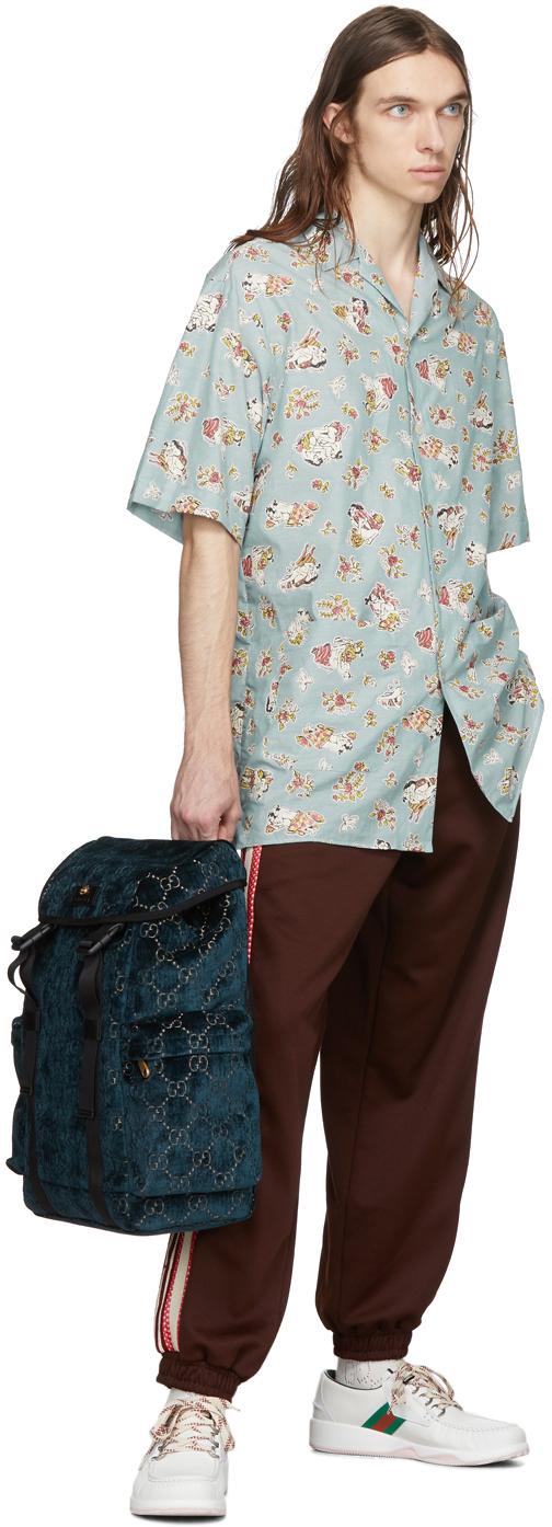Gucci Backpacks Blue Velvet Medium GG Backpack
