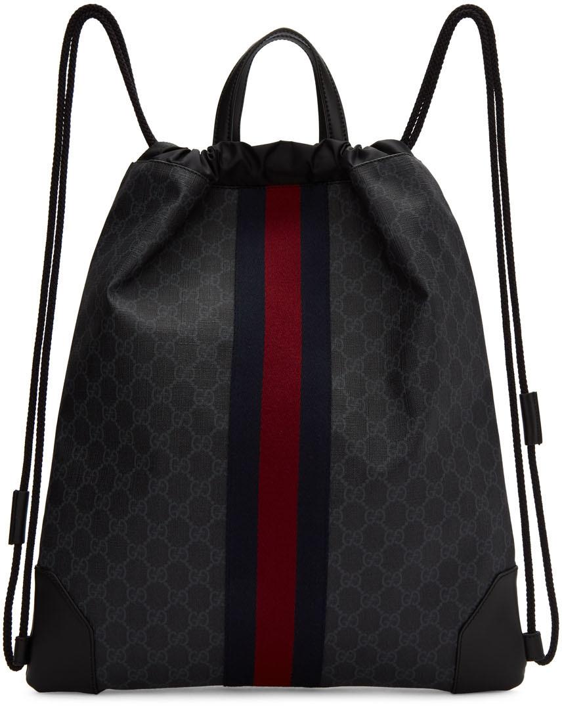Gucci Backpacks Black GG Supreme Zaino Backpack