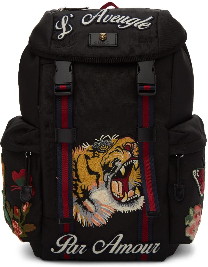 Gucci Backpacks Black 'Blind For Love' Embroidered Backpack