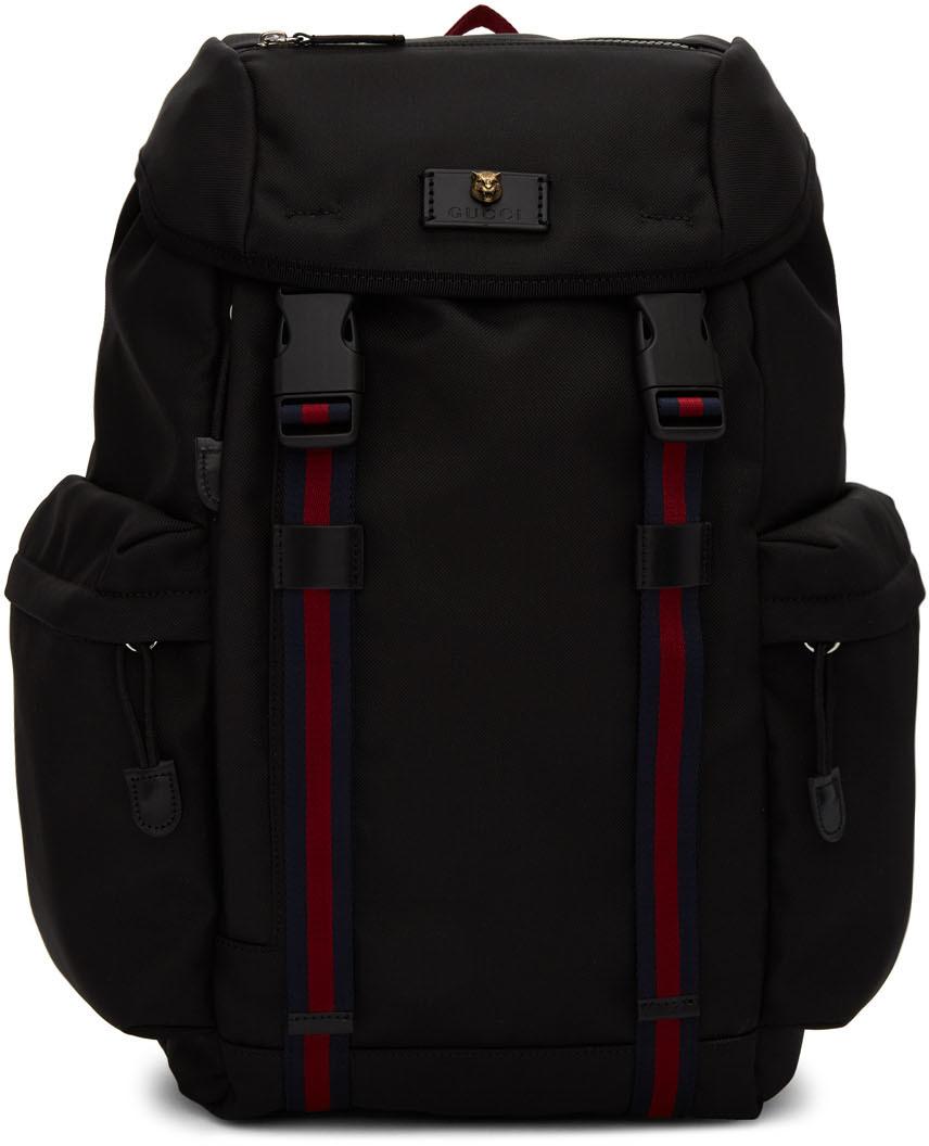 Gucci Backpacks Black Techno Canvas Backpack