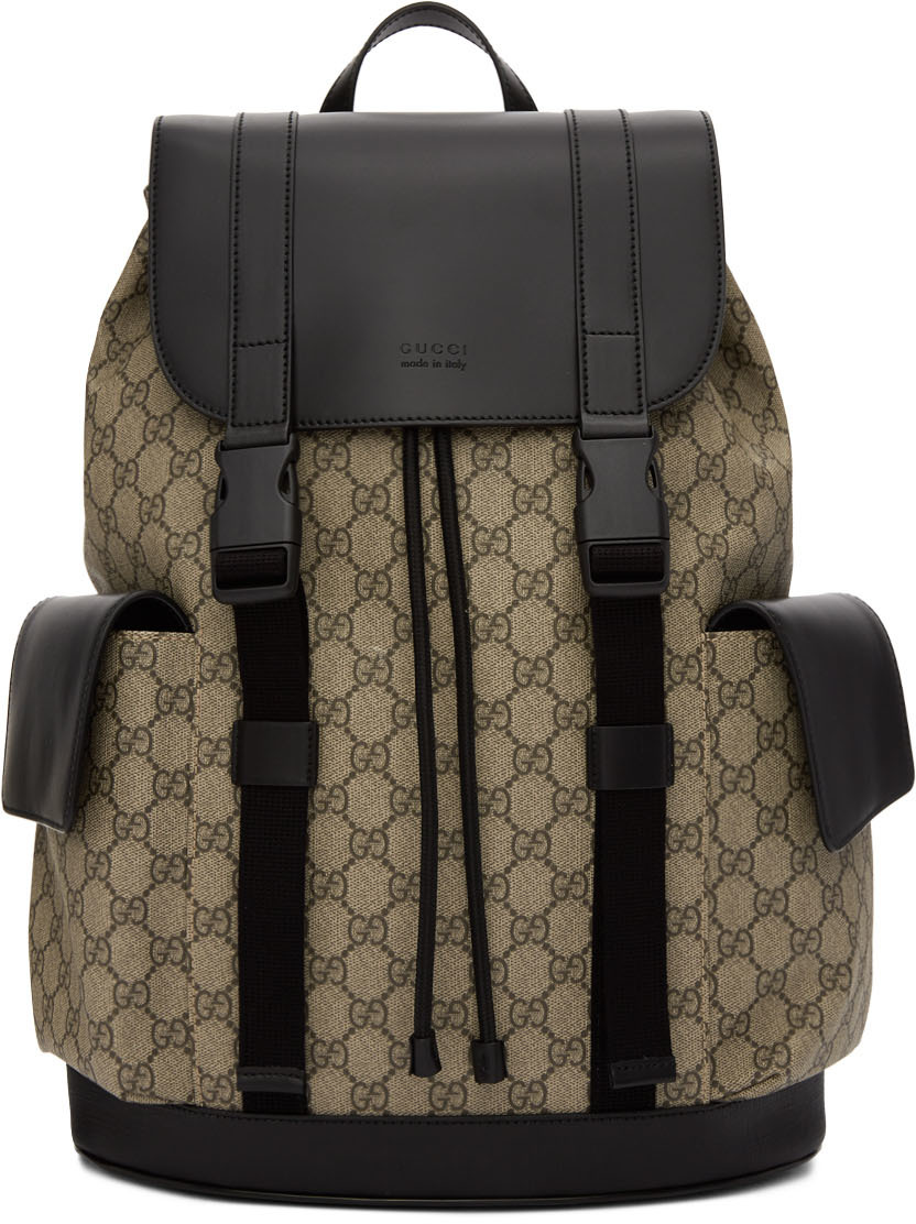 Gucci Backpacks Beige & Black Soft GG Supreme Backpack