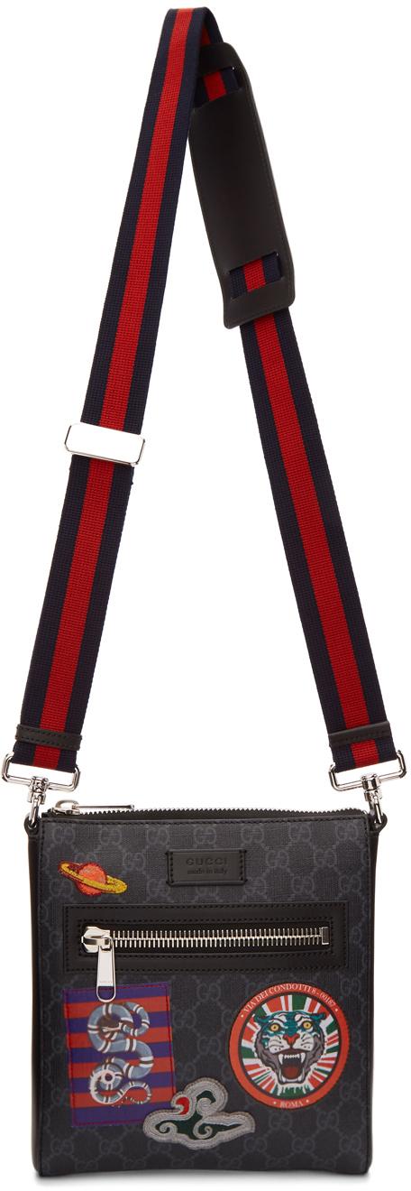 Gucci Coats Black GG Supreme Courier Messenger Bag