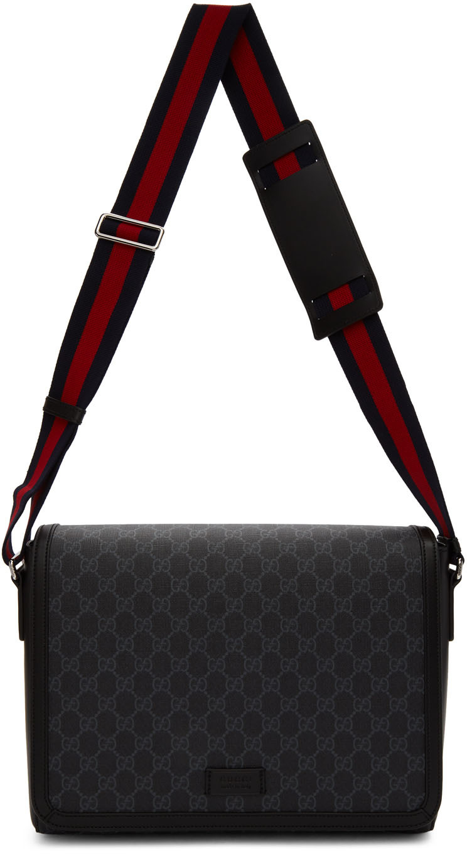 Gucci Accessories Black GG Supreme Flap Messenger Bag