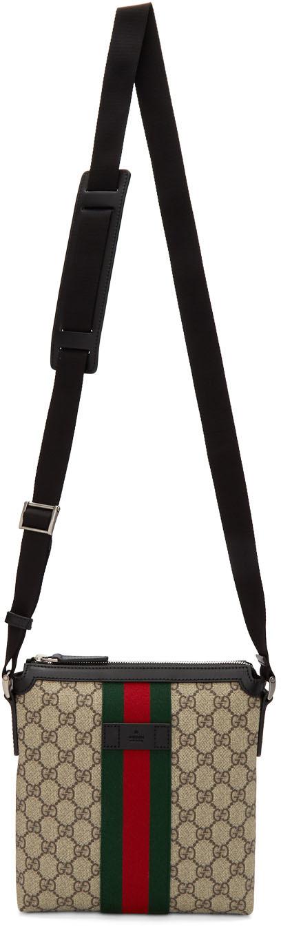 Gucci Flats Beige GG Supreme Flat Messenger Bag