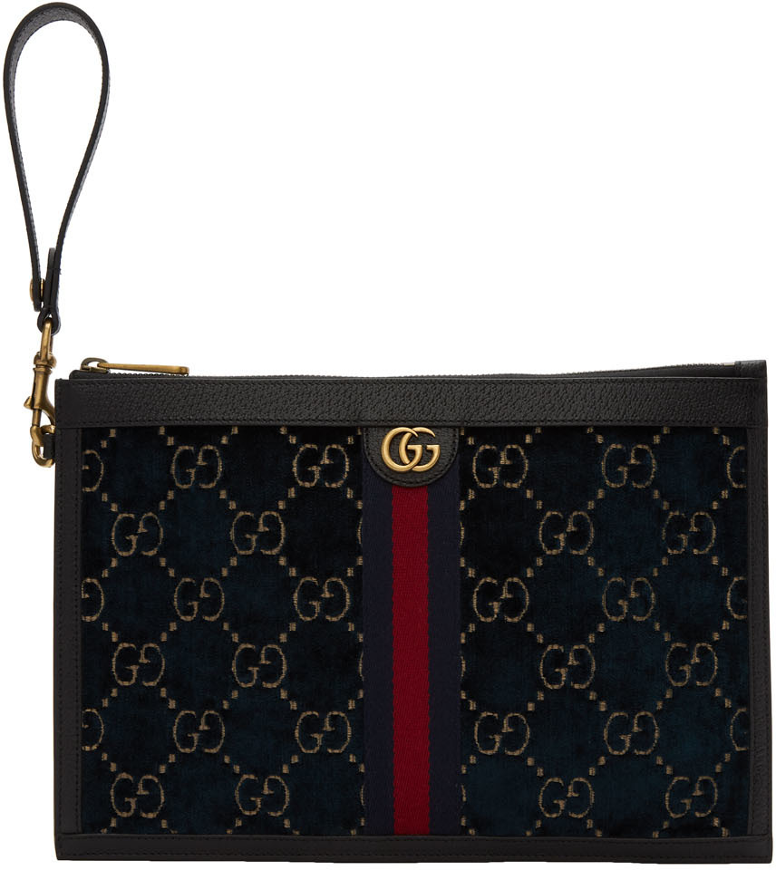 Gucci Accessories Blue Velvet GG Pouch