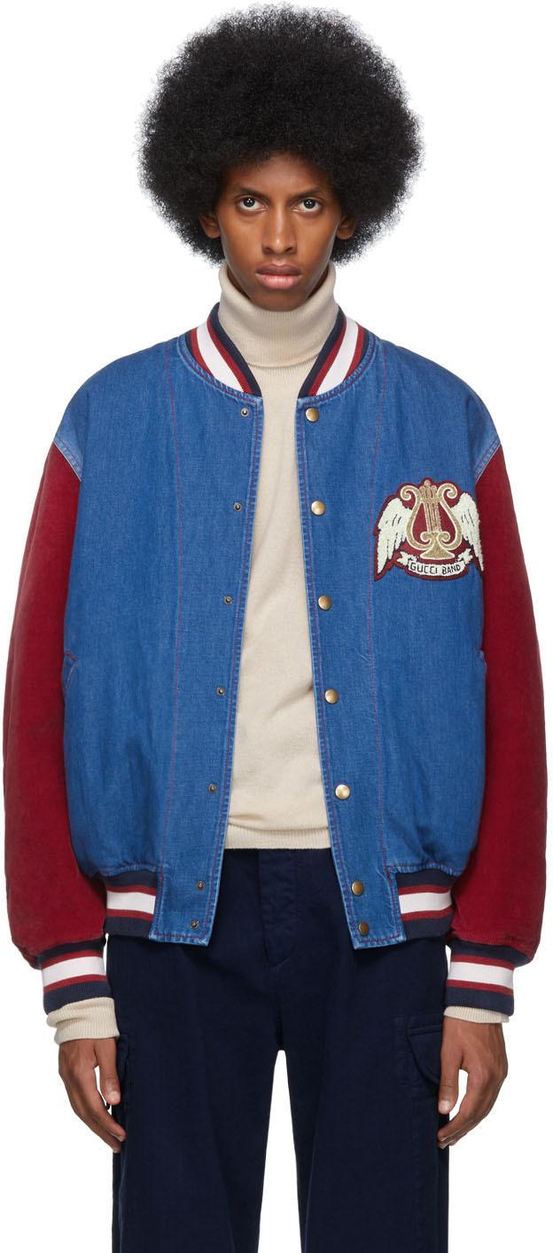 Gucci Jackets Blue & Red Denim Bomber Jacket