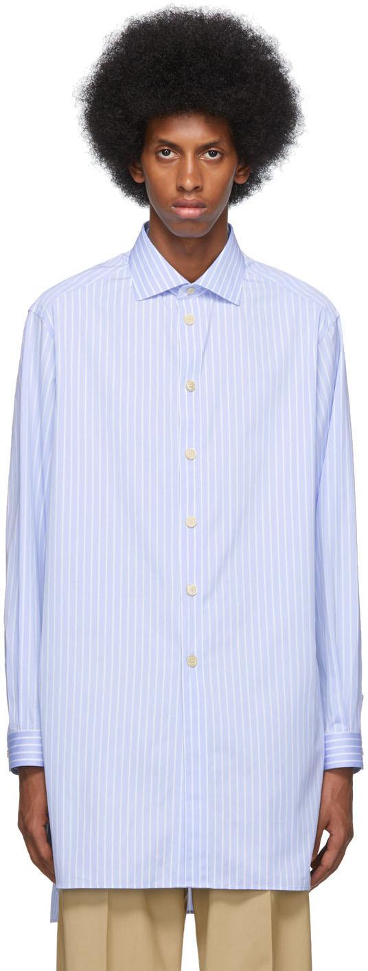 Gucci T-shirts Blue & White Large Striped Classic Shirt