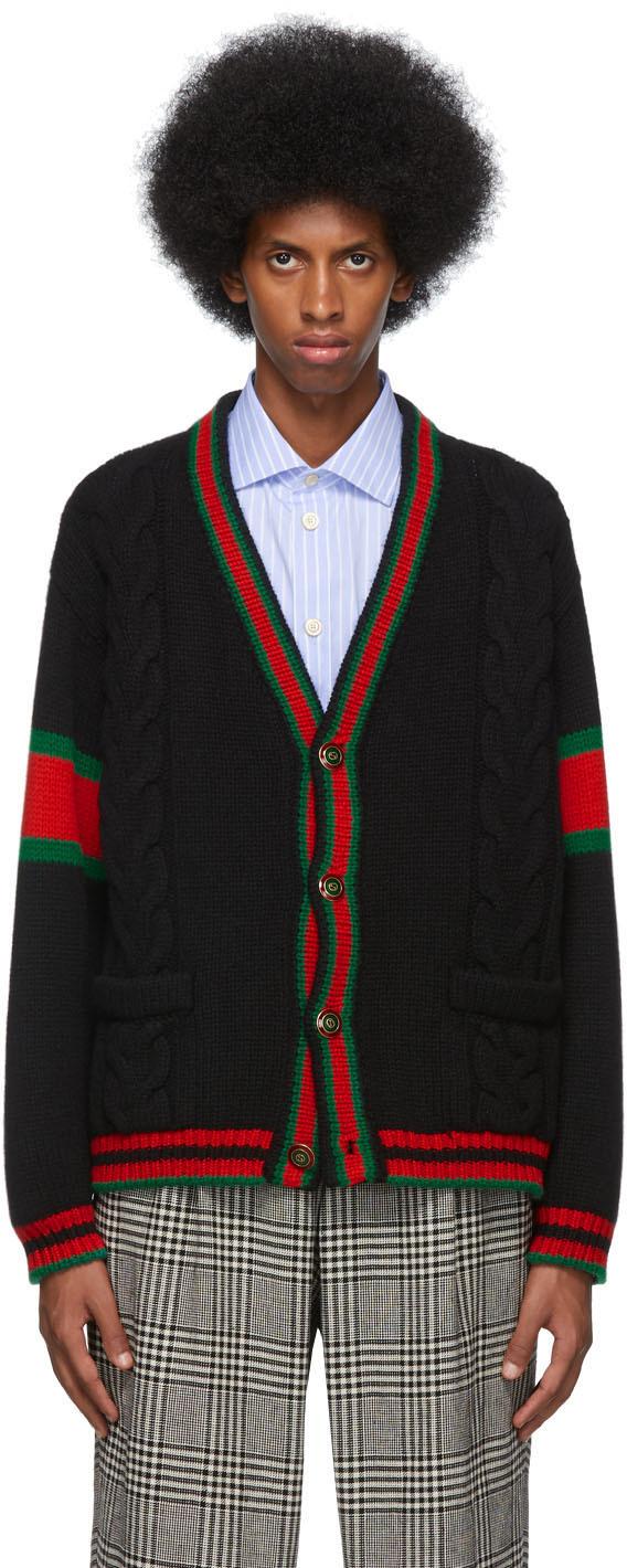 Gucci Knitwear Black Cable Knit Web Cardigan