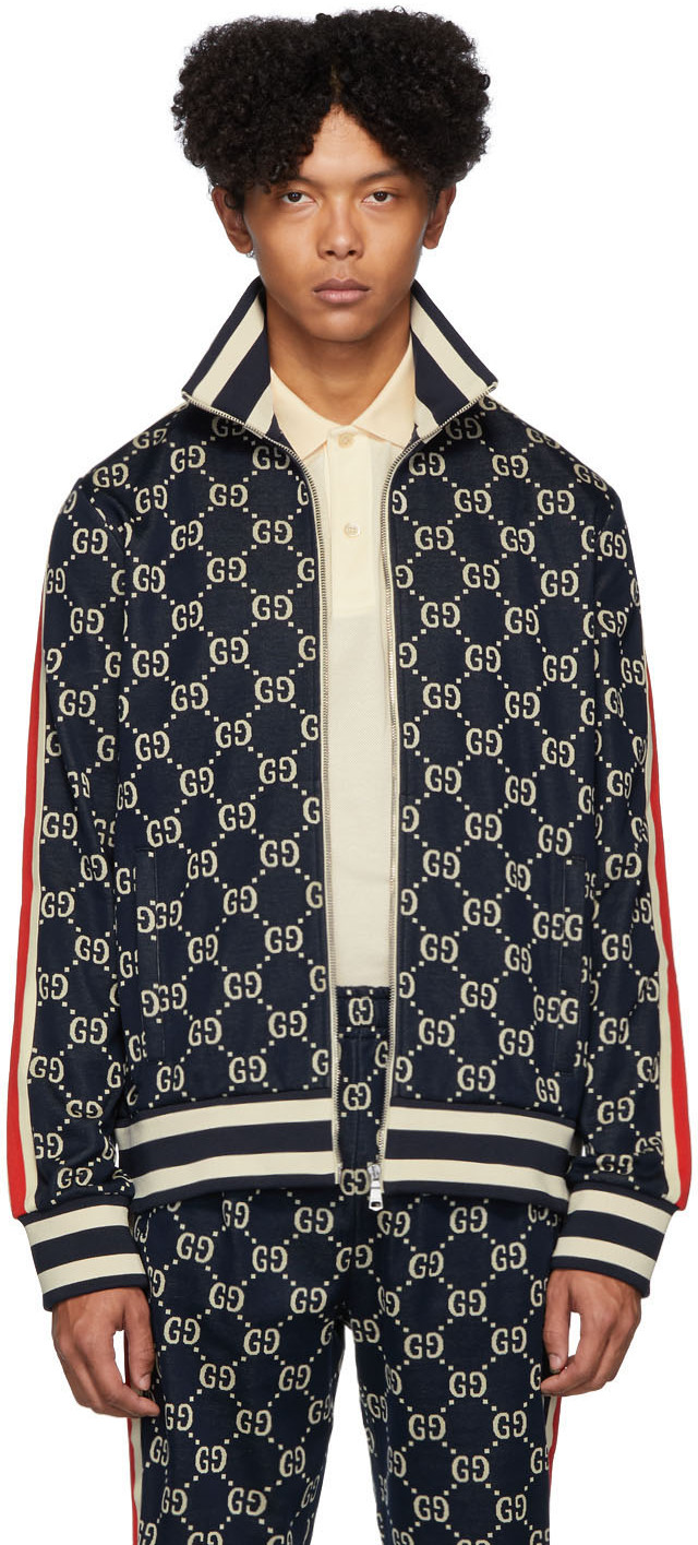 Gucci Jackets Navy Cotton Jacquard GG Jacket