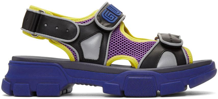 Gucci Sandals Black & Blue Aguru Sandals