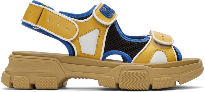 Gucci Sandals Yellow & Black Aguru Sandals