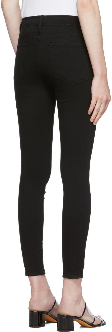 Frame Jeans Black 'Le High Skinny' Jeans