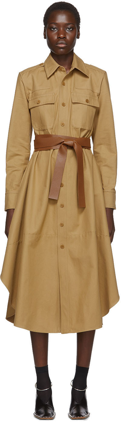 Stella Mccartney Dress Tan Belted Long Sleeve Shirt Dress