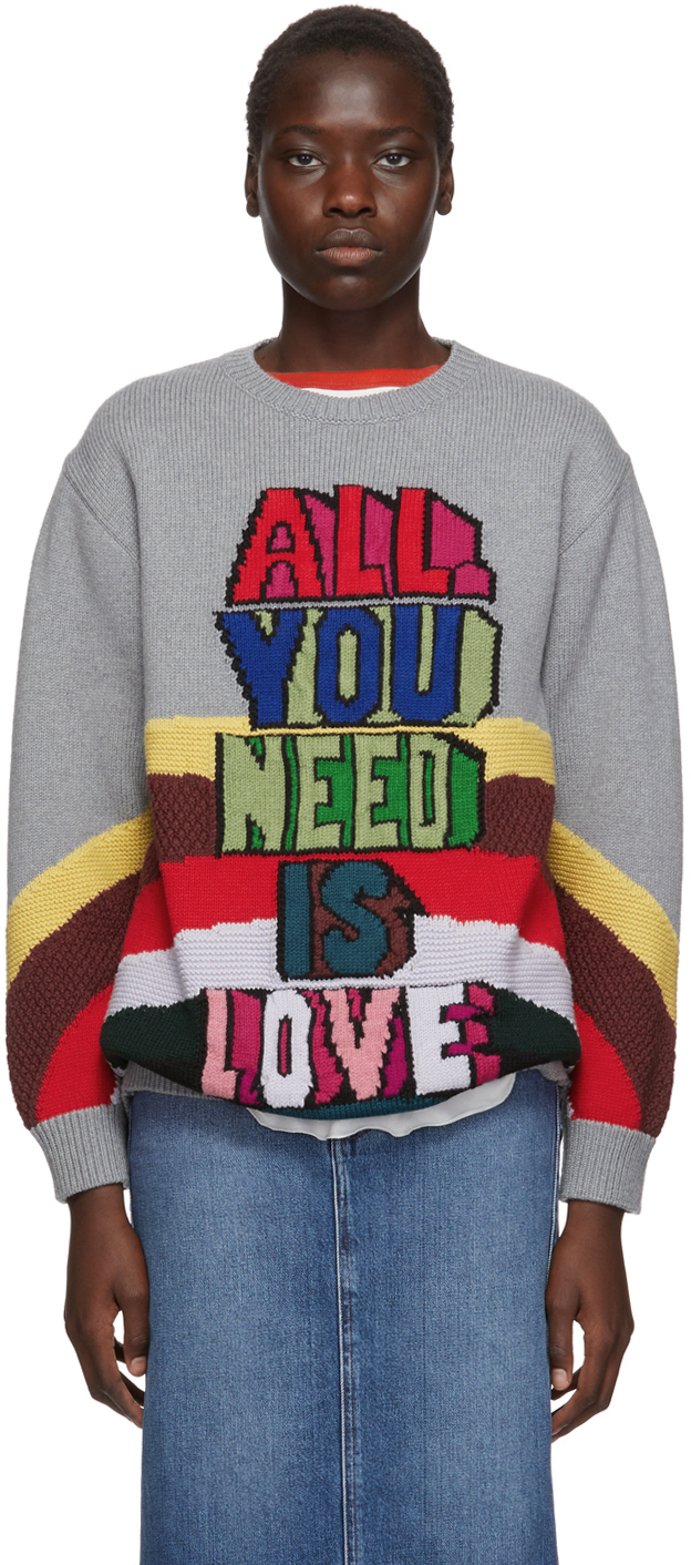 Stella Mccartney Sweaters Grey The Beatles Edition Virgin Wool 'All You Need Is Love' Sweater