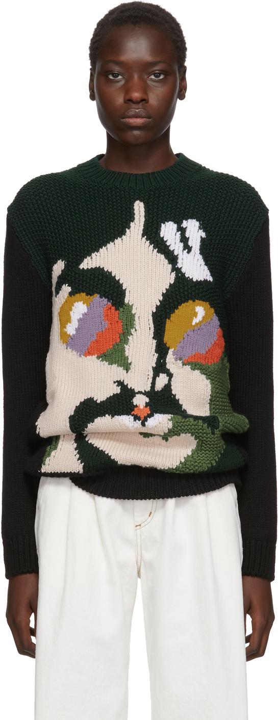 Stella Mccartney Sweaters Green & Black The Beatles Edition Virgin Wool John Lennon Sweater