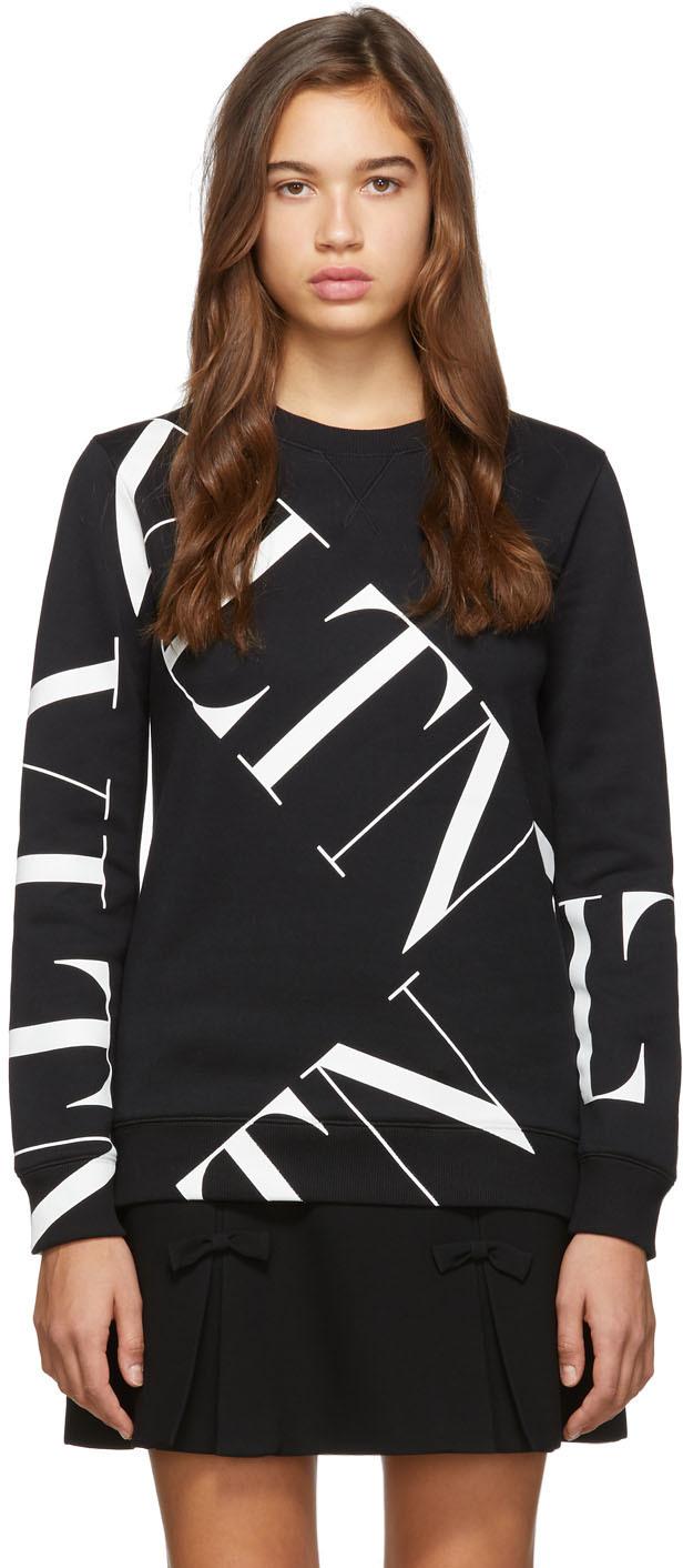 Valentino Shirts Black Macro 'VLTN' Grid Sweatshirt