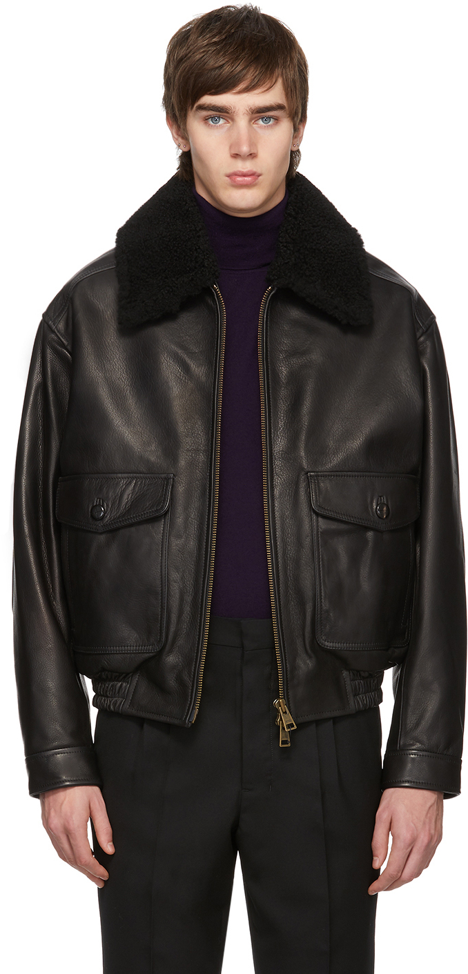 Ami Alexandre Mattiussi Jackets Black Shearling Grained Jacket