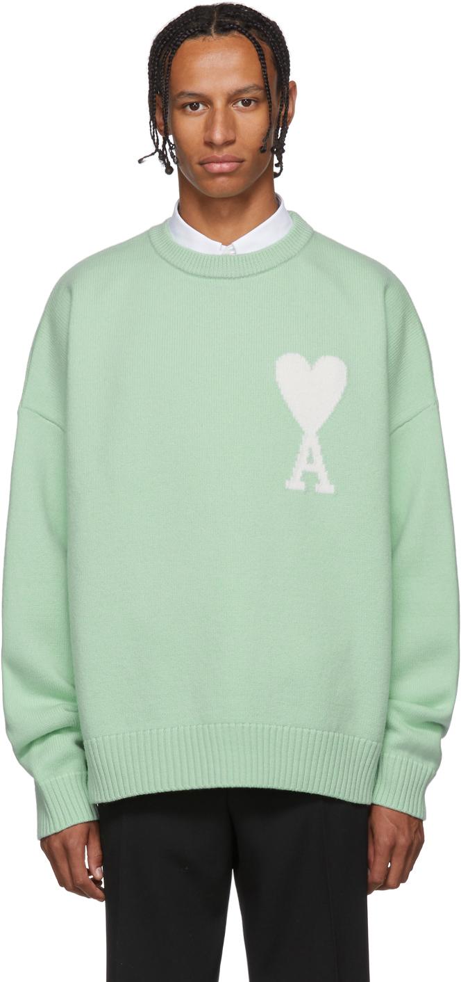 Ami Alexandre Mattiussi Sweaters Green Oversized Ami De Coeur Sweater