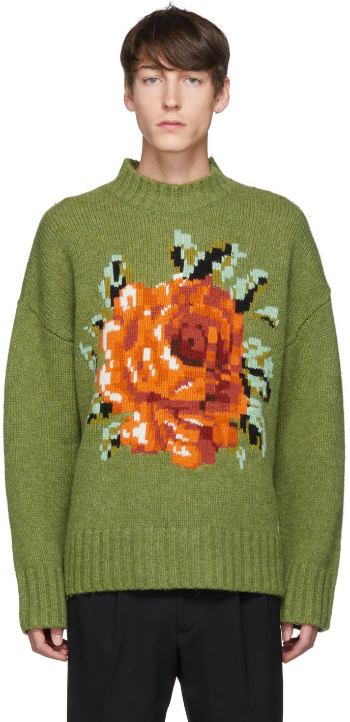 Ami Alexandre Mattiussi Tops Green Flower Pullover Sweater