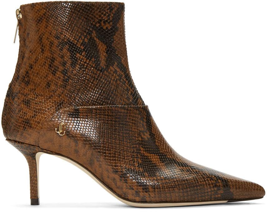 Jimmy Choo Boots Brown Snake Beyla 65 Boots