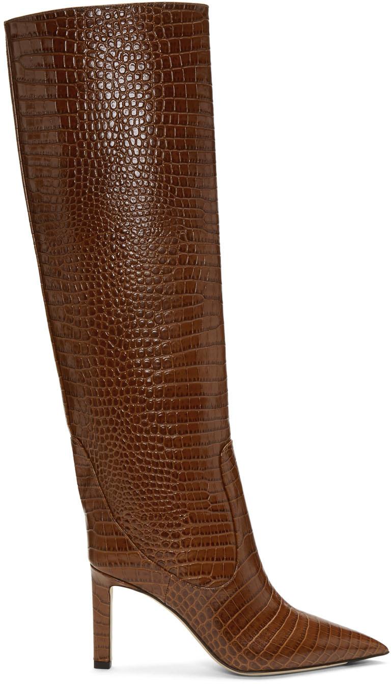 Jimmy Choo Boots Brown Croc Mavis 85 Boots