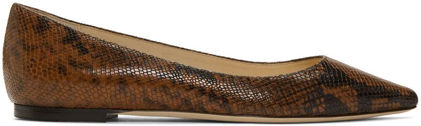 Jimmy Choo Flats Brown Snake Romy Flat Loafers