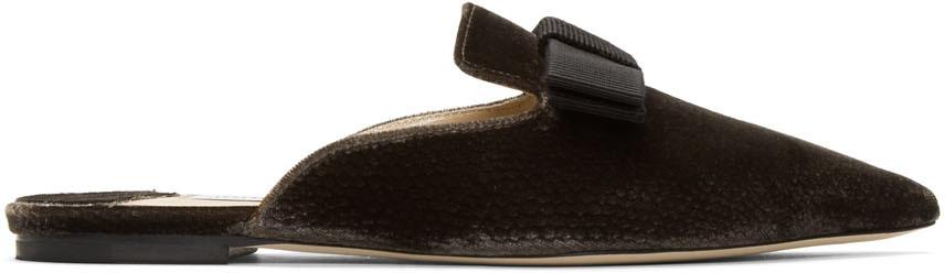 Jimmy Choo Flats Brown Velvet Galaxy Flat Loafers