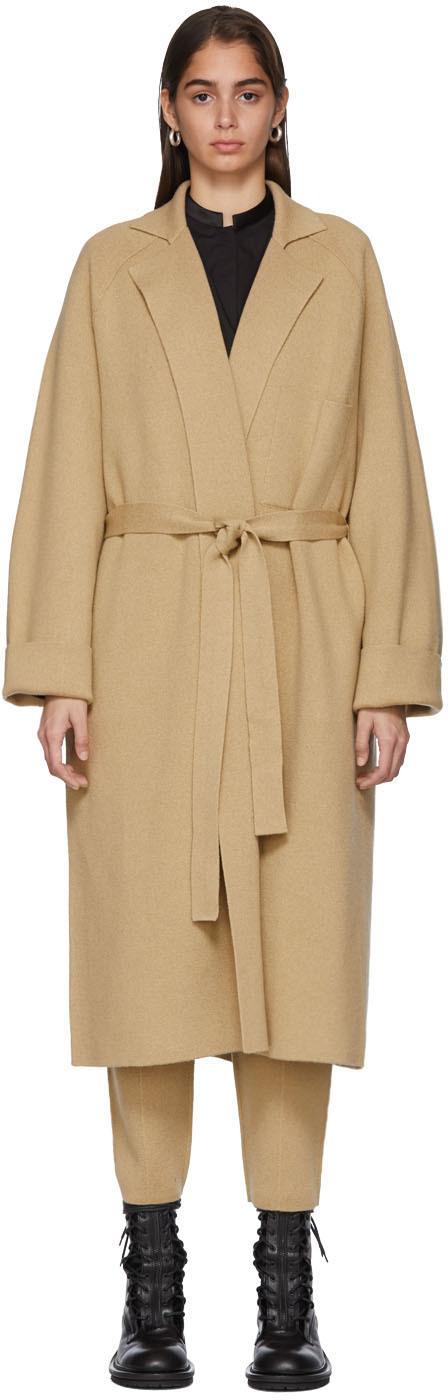 Haider Ackermann Coats Tan Knit Cashmere Coat