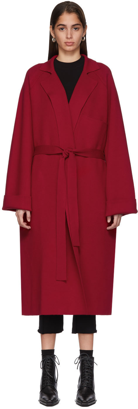 Haider Ackermann Coats Red Knit Cashmere Coat