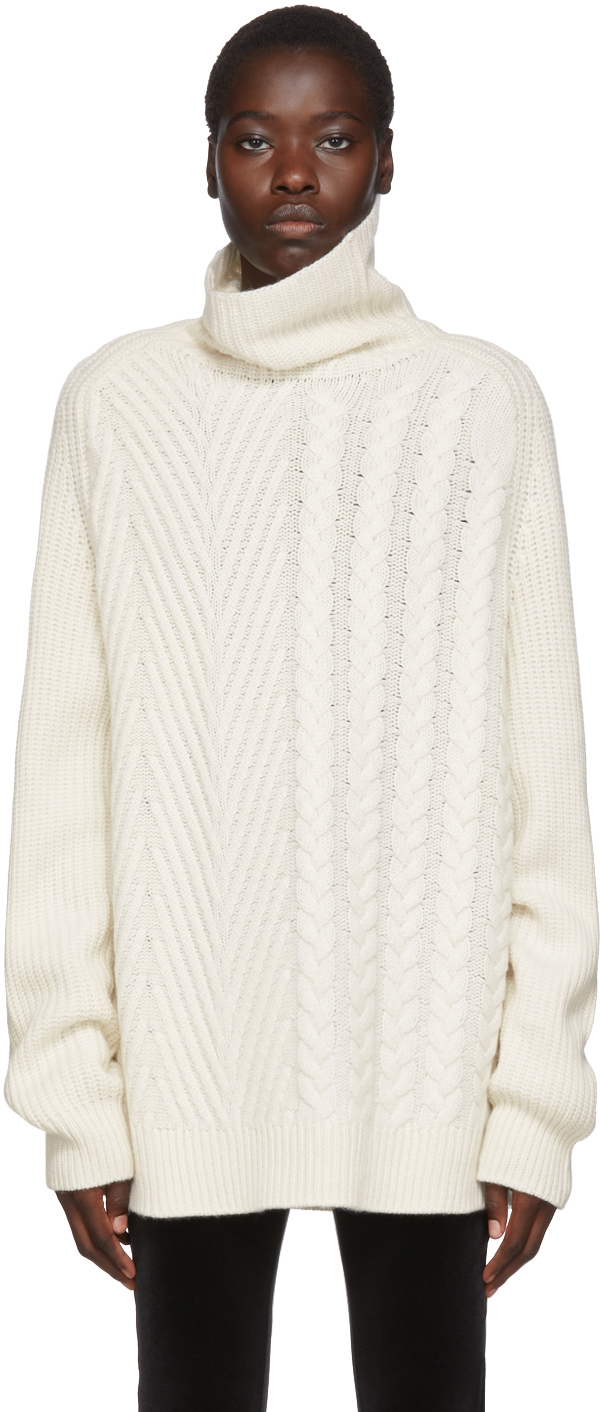 Haider Ackermann Tops Off-White Cable & Ribbed Turtleneck