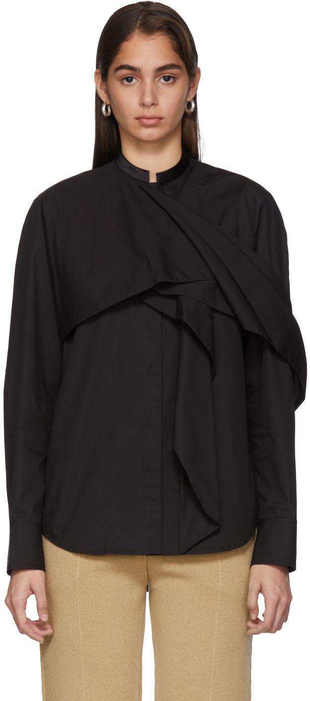 Haider Ackermann T-shirts Black Byron Drape Shirt