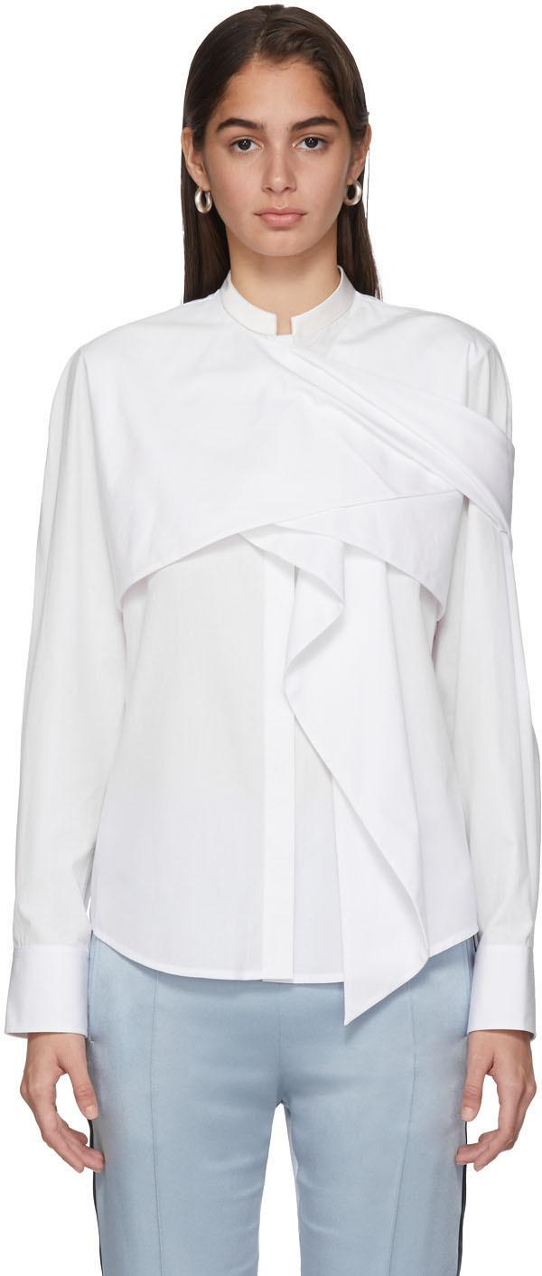 Haider Ackermann T-shirts White Drape Byron Shirt