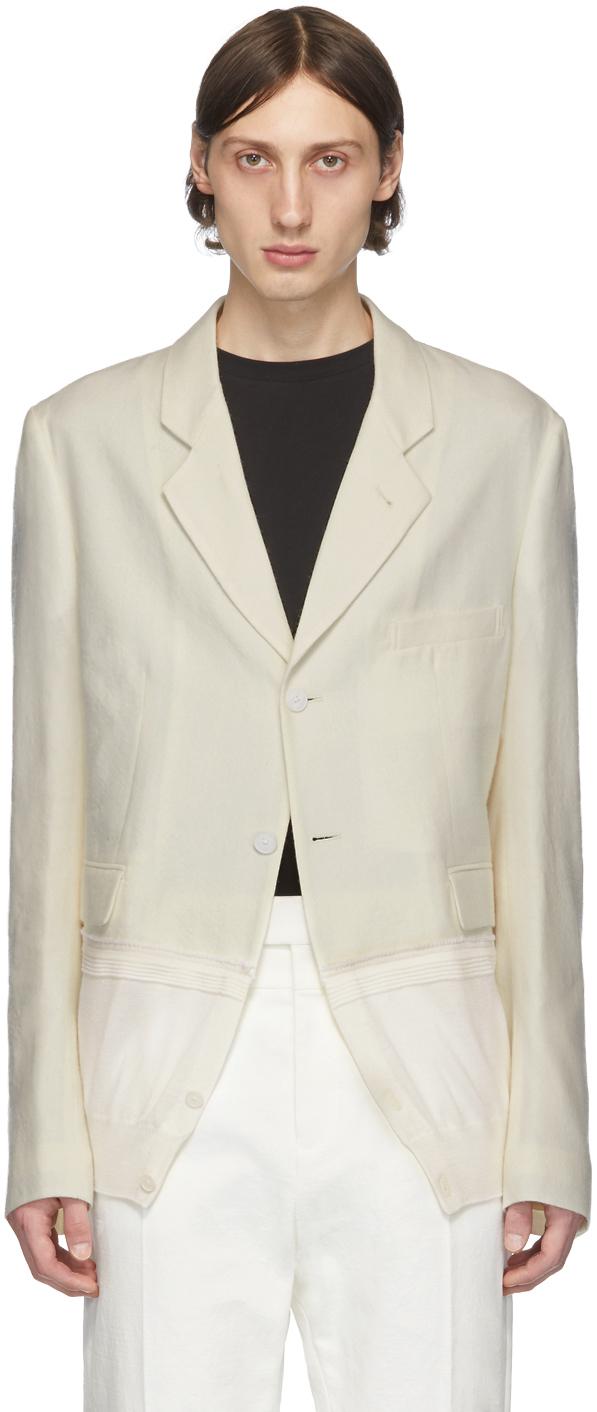 Haider Ackermann Blazers Off-White Knit Hem Blazer