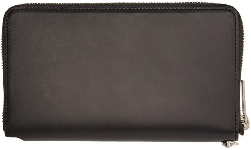 Yohji Yamamoto Wallets Black Large Zip Wallet